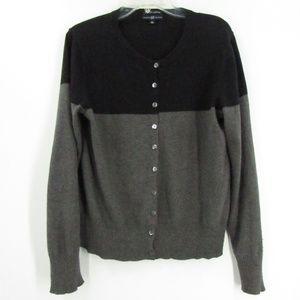 GAP Black/Gray Block Color Button Front Sweater XL
